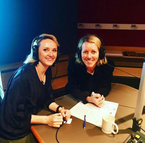 Jodie Imam and Cara Waters recording podcast in studio 2018